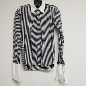 Ralph Lauren White/Black Striped Button Down Top 4